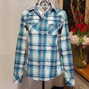 Aeropostale Button Front Snap Shirt Small NWT